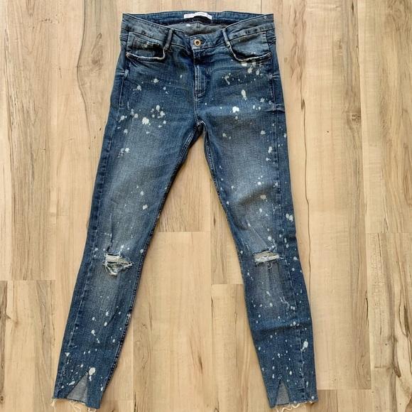 Zara bleached distressed raw skinny jeans